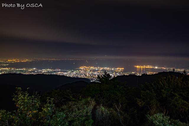 六甲ガーデンテラス 見晴らしのデッキから眺める夜景